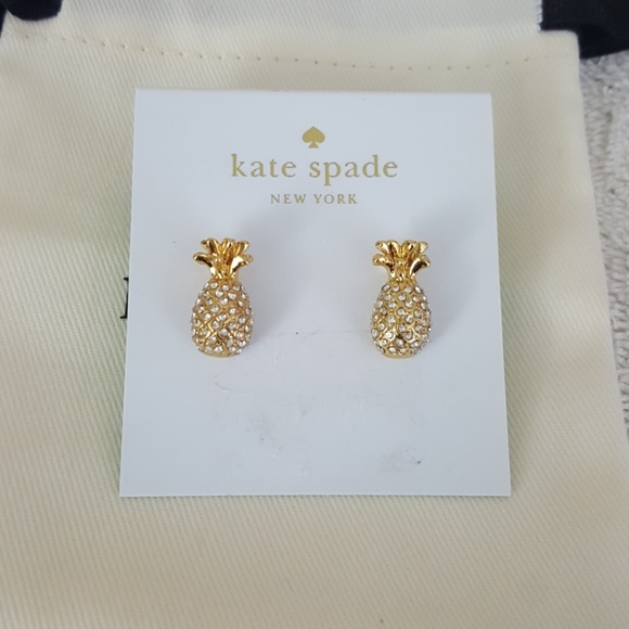 896119e6d2681 New kate spade By The Pool Pineapple Stud Earrings NWT